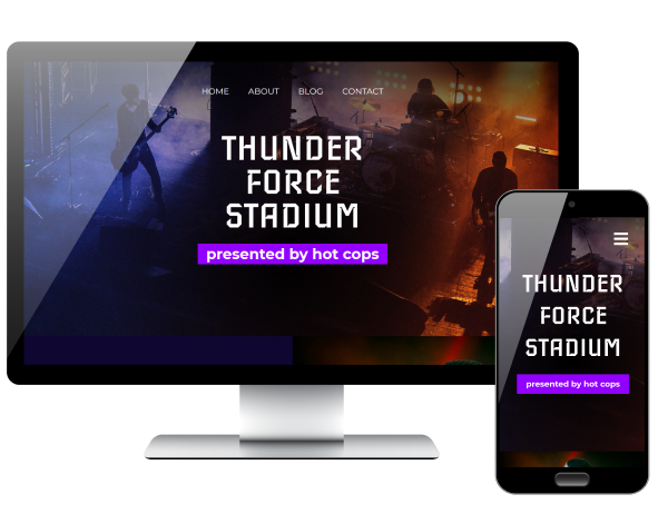 PSD conversion Thunder Force Stadium page displayed on desktop and phone