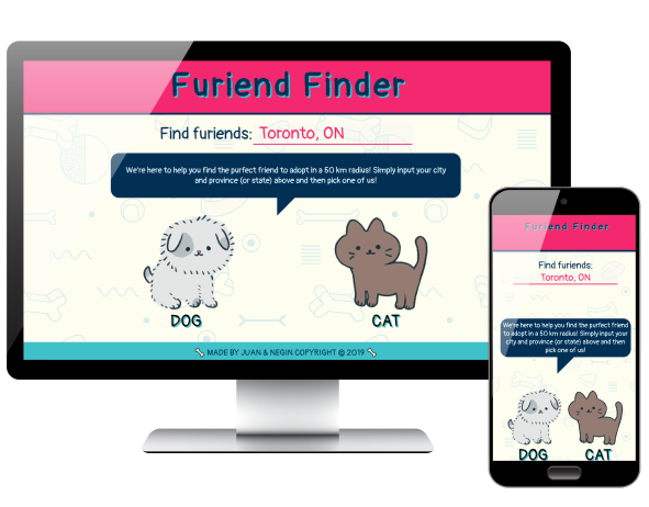Furiend Finder app displayed on desktop and phone