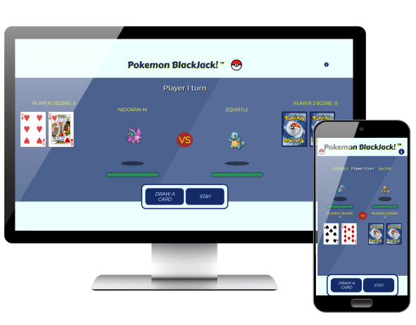 Pokemon Blackjack app displayed on desktop and phone